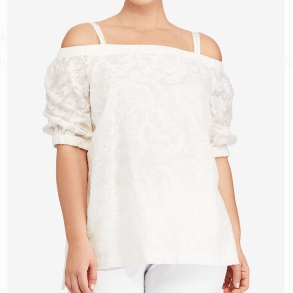 5551c24a7fd320 Ralph Lauren Tops   Nwt Lrl Ivory Concetta Silk Cold Shoulder Blouse ...